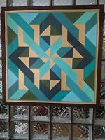 "Striking 36"" Large Vintage 1982 mcm Abstract Op Art Geometric Painting-J Kilguss"