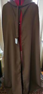 brown hooded cloak  141 cm long   fantasy  wizard long length (c41)
