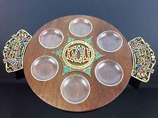 Vintage Judaism Jewish Hebrew Wood Wooden Brass Passover Plate ISRAEL