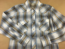Vintage LEE Mens Western Pearl Snap Button Front Long Sleeve 2 Pocket Shirt Sz M