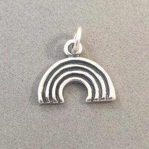 .925 Sterling Silver Small RAINBOW CHARM Pendant NEW 925 MY12