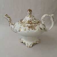 Antique Teapot Rococo Pear Shaped Moulded Feet c1840 Possibly Spode