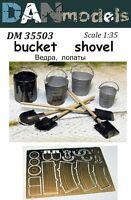 Dan Models 35503 - 1/35 Buckets, Shovels Scale 4 Buckets, 4 Shovels New in Box