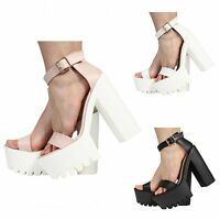 LADIES WOMENS ANKLE STRAP PLATFORM HIGH HEEL CLEATED SANDALS SHOES SIZE 3-8
