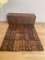 Vintage Wooden Dominoes Set - Boxed - Wood And Metal Detailing