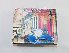 Leather Bifold Wallet with Printed Classic Car Cuban Urban Design