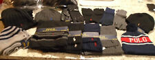Ralph Lauren Polo Sets Hat Scarf - Gloves Black Gray Navy Leather Wool