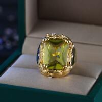 Schmuck Finger Hochzeit Frauen Citrin Quadrat Ring aus Zircon Kristall