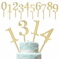 6pcs Happy Birthday Acrylic Decor Party Supplies Gold Number Cake Topper