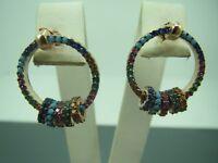 Turkish Handmade Jewelry 925 Sterling Silver Multi Stone Ladies' Earrings