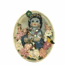 "Oval Shape Krishna With Flowers and Flute Murti God Idol Decorative – 4.5"""
