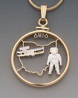 "Ohio U.S. State Coin Pendant Necklace. Hand cut - 7/8"" diameter"