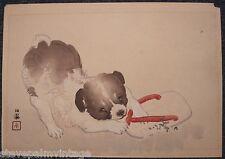 Takeuchi Seiho Japanese Woodblock Print Original Puppy Favorite Toy Signed 00672