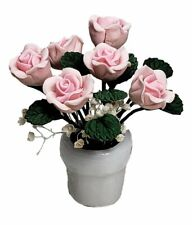 Miniature Dollhouse Pink Roses Flowers in a Vase 1:12 Scale New