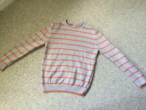 Boys Orange And Grey Striped Jumper By M&S Age 9-10 Yrs Fab Cond