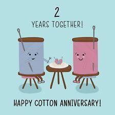 Happy 2nd Wedding Anniversary Greetings Card - Cotton Anniversary