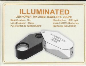 Illuminated LED Power 10X-21mm Jeweler's Loupe
