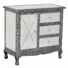 BLACK SILVER EMBOSSED MIRRORED GLASS SIDEBOARD CABINET (T4313) BALI