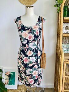 Maiocci Festive Floral Bird Print Shift Dress. Size 10 S M