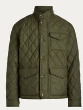 NWT POLO RALPH LAUREN Men's Green Diamond Quilted Jacket Coat Leather Patch XL