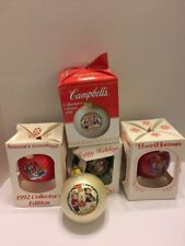 Campbell Kids Soup 4 Glass Christmas Ornaments 1992 1993 1999  2001