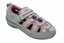 Naples ORTHOFEET Orthotic Shoe GRAY PINK Fisherman Sandals Insoles Size 8 XW