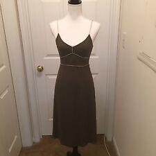 J Crew Olive Green Spaghetti Strap 100% Silk Midi Slip Dress Size 0 Cocktail