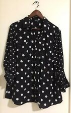 RELATIVITY  BUTTON DOWN POLKA DOT Roll Up sl Blouse Size M Color Black White NWT