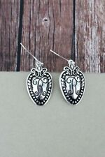 "Spoon Earrings 1"" Monogram R Initial Script fish hook 1.5""drop"