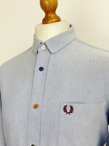 Fred Perry | Long Sleeve Coloured Button Oxford Shirt L|42 (Blue) Mod Scooter