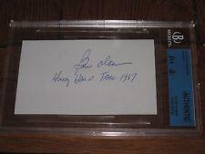 BEN OLAN AUTOGRAPHED 3X5 INDEX CARD-JSA/BGS SLAB-ENCAPSULATED-RARE- HOF 1987