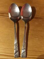 """2 X Vintage Viner's Silver Rose EPNS Silver Plate Table Spoons """" Extra A"""" 20.5cm"""