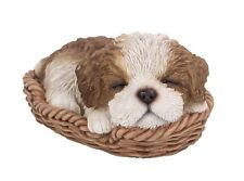 Cute Shih Tzu Puppy Dog Sleeping in Basket Figurine Statue Pet Pal Collection