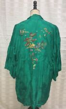 Vintage Embroidered Golden Bee Short Kimono Robe Green Size S