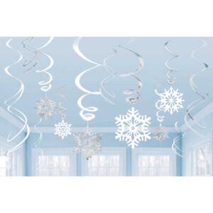 12 SNOWFLAKE SWIRLS PARTY HANGING DECORATIONS FROZEN WINTER WONDERLAND CHRISTMAS