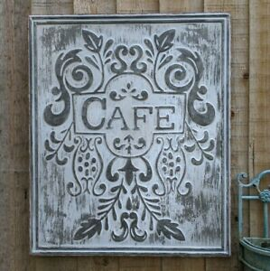 New CAFE Galvanised GREY French Vintage Rustic Shabby Chic Metal Tin Wall Plaque