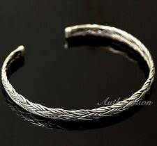 Mens Sterling Silver Bracelet Woven Bangle Handcrafted Hip Hop Beachwear b14