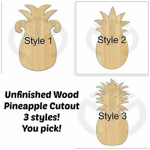 Unfinished Wood Pineapple Door Hanger Laser Cutout,  Ready to Paint, 3 Options