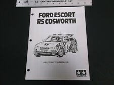 90'sTAMIYA FORD ESCORT RS COSWORTH 1:10 SCALE R/C PARTS LIST & LINE DRAWING
