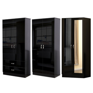 2 Door/ Mirrored Modern Gloss Black Bedroom Wardrobe - Soft Close Hinges