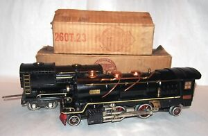 "Lionel Prewar O Gauge ""Cream Stripe"" 260E Steam Locomotive & Tender! NICE! BOXED"
