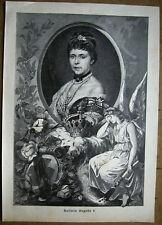 PORTRAIT KAISERIN AUGUSTA Preußen. Orig. Holzstich von 1890