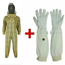 Double Zipper 3Layer Ultra Ventilated Bee Suit Fencing Veil+Gloves.Brown. 3XL
