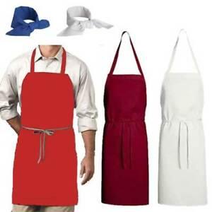 Chef Designs 5pc Set Maroon Red White Blue Neckerchief Bib Aprons Poly/Cotton