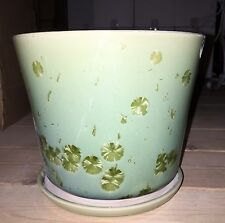 "New 8.5"" CELADON GREEN WISH FLOWER DESIGN PLANTER PLANT POT & SAUCER"