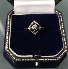 Women's 9ct Gold Quality Diamond & Sapphire Ring Size O 1/2 Weight 2.6g Stamped