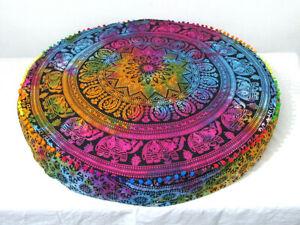 """Floor Cushion Pillow Cover Pouf Meditation Cover Indian Cotton 35"""" Large Round"""