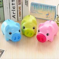 Piggy Bank Money Box For Saving Coins & Cash Fun Gift Plastic Novelty Pig Safe
