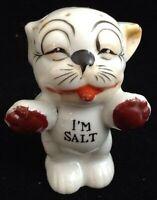 Vtg Original Bonzo Dog Salt Shaker Japan Burgundy Paws Hand Painted Porcelain