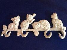 4 Cats Cast Iron Wall Hanger Decorative Wall Hook Rack Vintage Design Shabby